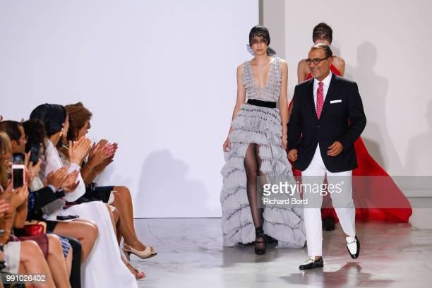 Designer Georges Chakra acknowledges the audience during the Georges Chakra Haute Couture Fall Winter 2018/2019 show as part of Paris Fashion Week on...