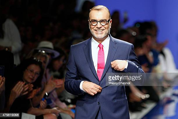 Designer Georges Chakra walks the runway during the Georges Chakra show as part of Paris Fashion Week Haute Couture Fall/Winter 2015/2016 on July 7...