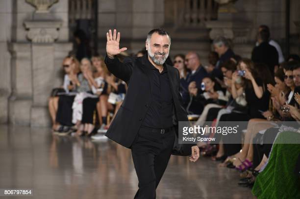 Designer Georges Hobeika acknowledges the audience during the Georges Hobeika Haute Couture Fall/Winter 20172018 show as part of Haute Couture Paris...