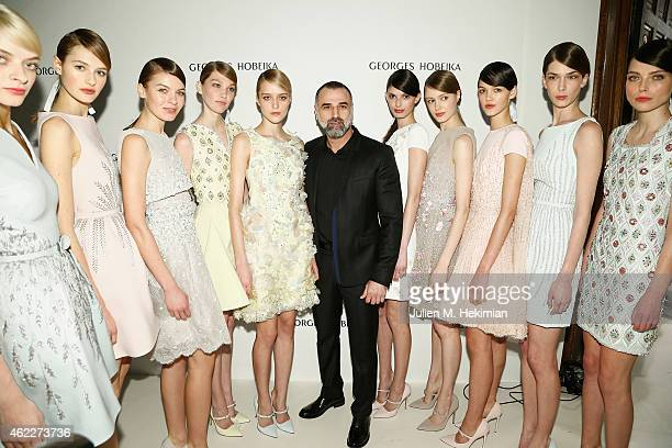 Designer Georges Hobeika and models attend the Georges Hobeika Haute Couture Spring/Summer 2015 Show as part of Paris Fashion Week on January 26 2015...