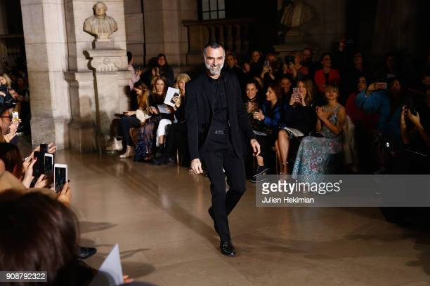 Designer Georges Hobeika arrives on the runway during the Georges Hobeika Spring Summer 2018 show as part of Paris Fashion Week on January 22 2018 in...