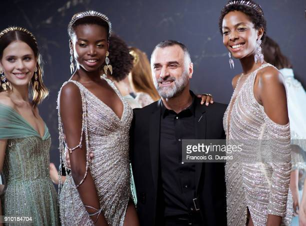 Designer Georges Hobeika is seen with models backstage prior the Georges Hobeika Spring Summer 2018 show as part of Paris Fashion Week on January 22...