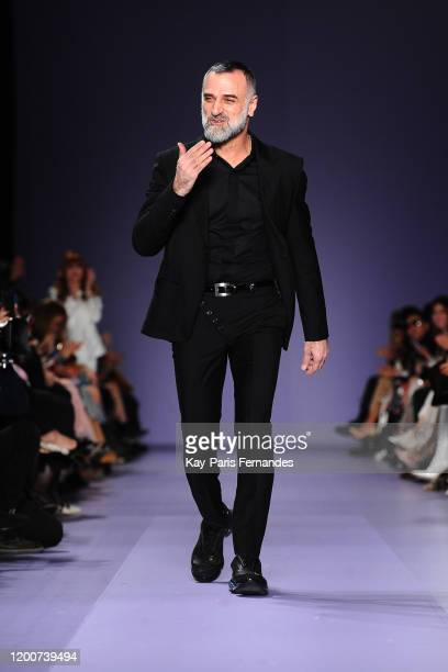 Designer Georges Hobeika walks the runway during the Georges Hobeika Haute Couture Spring/Summer 2020 show as part of Paris Fashion Week on January...