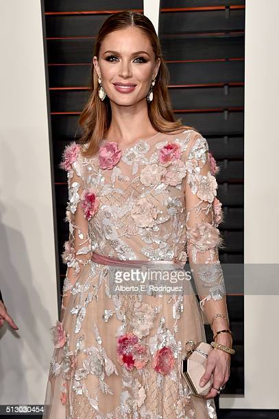 Designer Georgina Chapman attends the 2016 Vanity Fair Oscar Party hosted By Graydon Carter at Wallis Annenberg Center for the Performing Arts on...