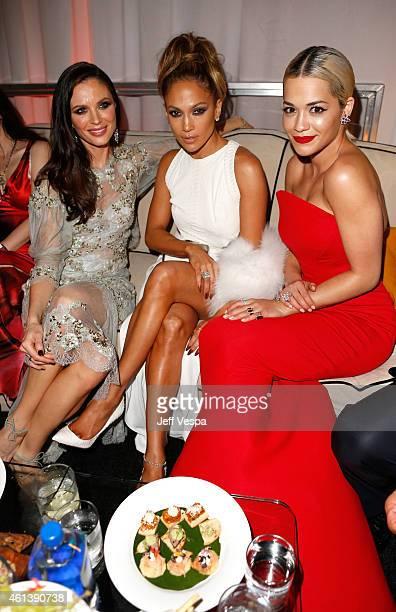 Designer Georgina Chapman entertainer Jennifer Lopez and singer Rita Ora attend The Weinstein Company Netflix's 2015 Golden Globes After Party...