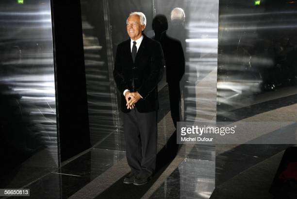 Designer Georgio Armani walks down the runway during the Armani fashion show as part of Paris Fashion Week Spring/Summer 2006 on January 23 2006 in...