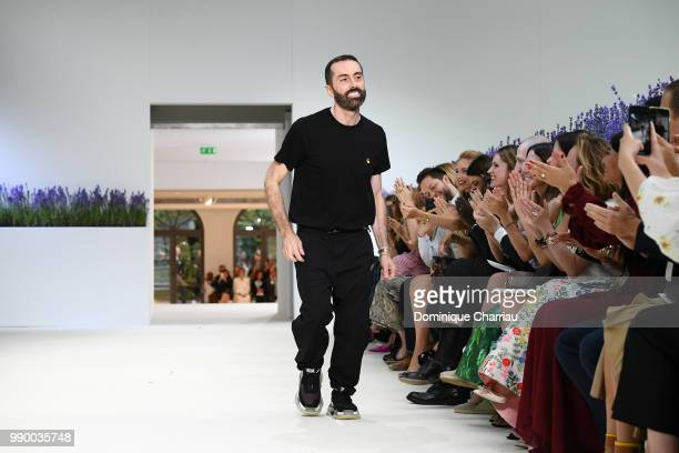 Designer Giambattista Valli after his Haute Couture Fall/Winter 20182019 show as part of Haute Couture Paris Fashion Week on July 2 2018 in Paris...