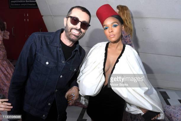 Designer Giambattista Valli and Janelle Monae seen backstage during the Giambattista Valli show as part of the Paris Fashion Week Womenswear...