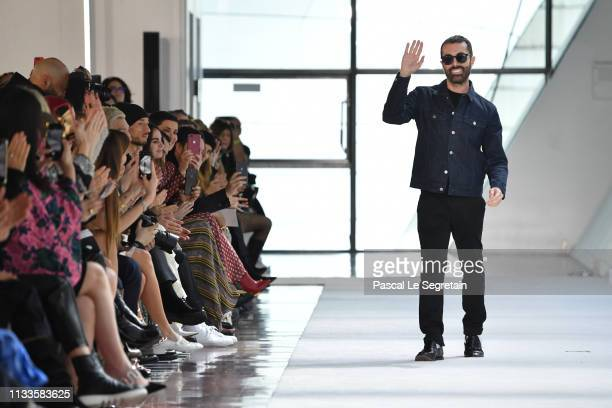 Designer Giambattista Valli walks the runway during the finale of the Giambattista Valli show as part of the Paris Fashion Week Womenswear...