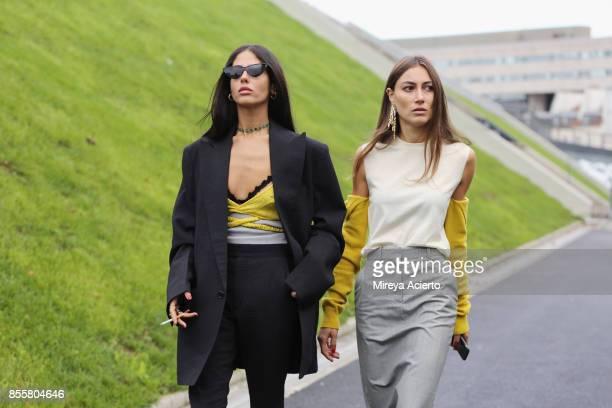 Designer Gilda Ambrosio and creative diretcor Giorgia Tordini attend the Haider Ackermann show as part of the Paris Fashion Week Womenswear...