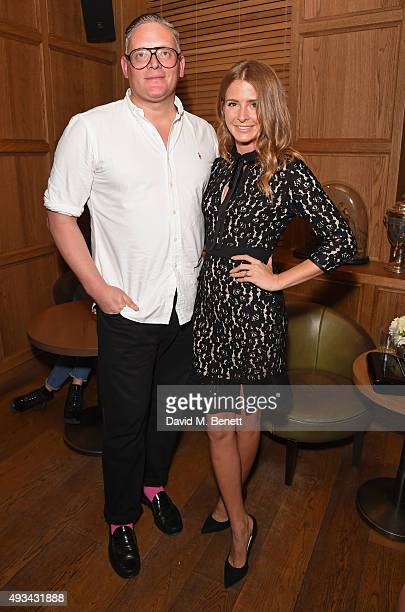 Designer Giles Deacon and Millie Mackintosh attend a cocktail reception hosted by Giles Deacon to celebrate the launch of the Giles/EDITION...