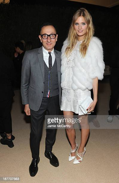 Designer Gilles Mendel and model Constance Jablonski attend CFDA and Vogue 2013 Fashion Fund Finalists Celebration at Spring Studios on November 11...