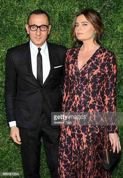 Designer Gilles Mendel and Pamela Berkovic attend the 12th annual CFDA/Vogue Fashion Fund Awards at Spring Studios on November 2, 2015 in New York...