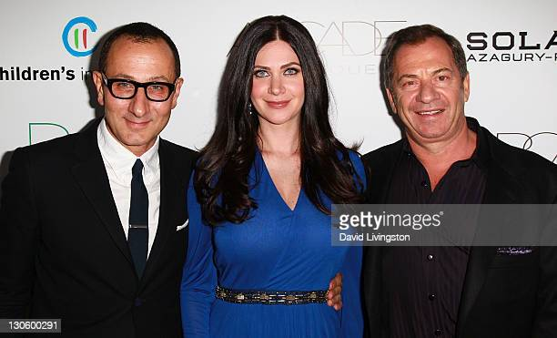Designer Gilles Mendel PSLA founder Rochelle Gores Fredston and her father businessman Alec Gores attend the 2nd annual Autumn Party at The London...