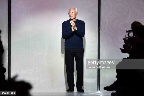 Designer Giorgio Armani acknowledges applause on the runway during the Giorgio Armani Prive Spring Summer 2018 show as part of Paris Fashion Week on...