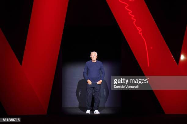 Designer Giorgio Armani acknowledges the applause of the audience after his show during Milan Fashion Week Spring/Summer 2018 on September 22 2017 in...