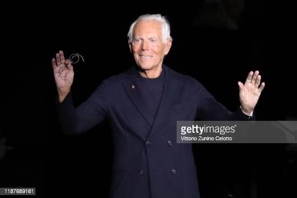 Designer Giorgio Armani acknowledges the applause of the public after the Giorgio Armani Pre-Fall 2020/2021 at Armani Theatre on November 14, 2019 in...