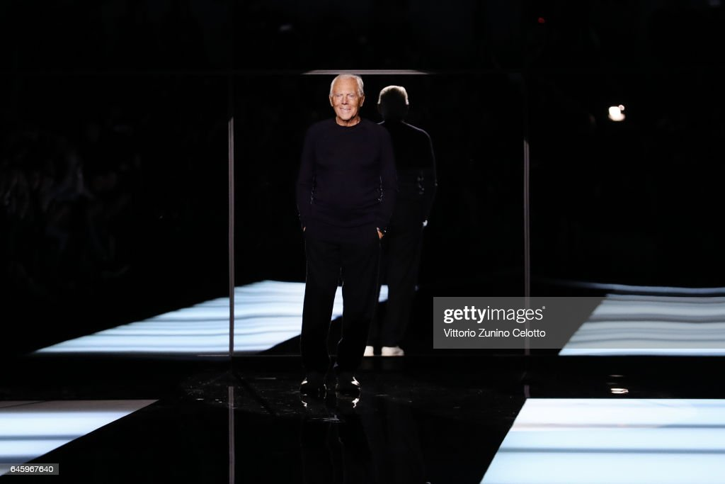 Designer Giorgio Armani acknowledges the applause of the public after the Giorgio Armani show during Milan Fashion Week Fall/Winter 2017/18 on February 27, 2017 in Milan, Italy.
