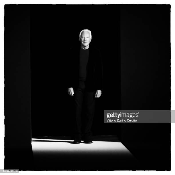 Designer Giorgio Armani acknowledges the applause of the public afterthe Emporio Armani show as part of Milan Fashion Week Menswear Autumn/Winter...