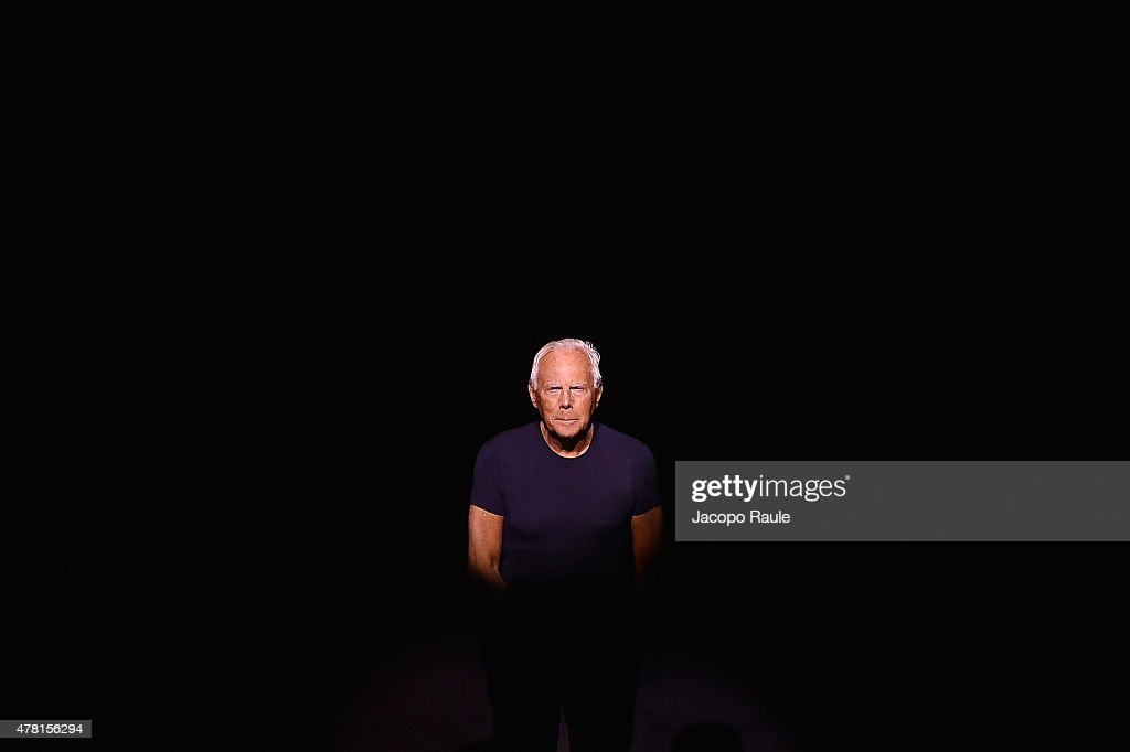 Designer Giorgio Armani after his show as part of Milan Men's Fashion Week Spring/Summer 2016 on June 23, 2015 in Milan, Italy.