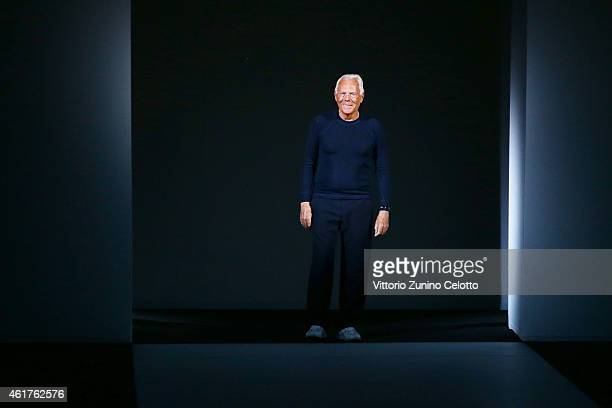 Designer Giorgio Armani after his show Emporio Armani as a part of Milan Menswear Fashion Week Fall Winter 2015/2016 on January 19, 2015 in Milan,...