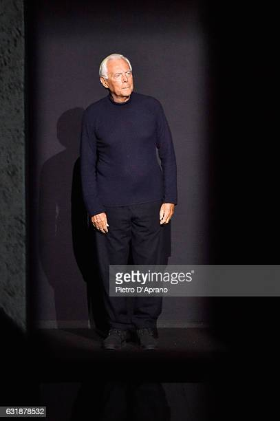 Designer Giorgio Armani aknoledges the applause of the audience at the end of Giorgio Armani show during Milan Men's Fashion Week Fall/Winter 2017/18...