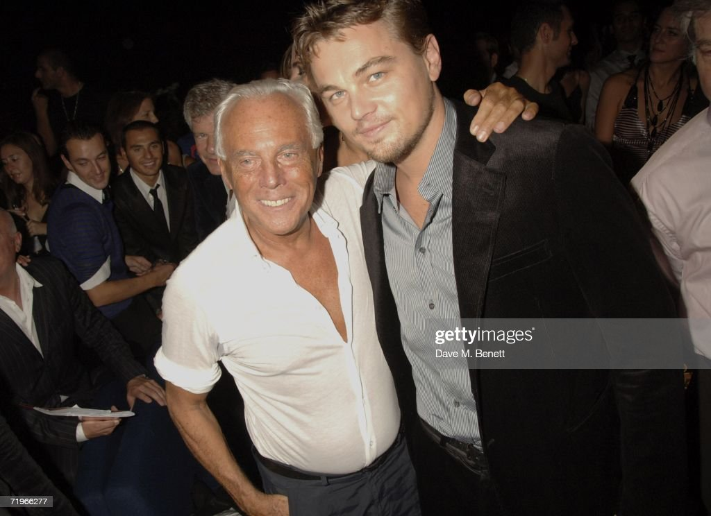 Designer Giorgio Armani and actor Leonardo DiCaprio attend the fashion show and party to celebrate the launch of Emporio Armani RED collection, at Earls Court on September 21, 2006 in London, England.