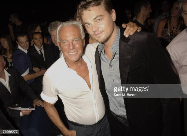 Designer Giorgio Armani and actor Leonardo DiCaprio attend the fashion show and party to celebrate the launch of Emporio Armani RED collection at...