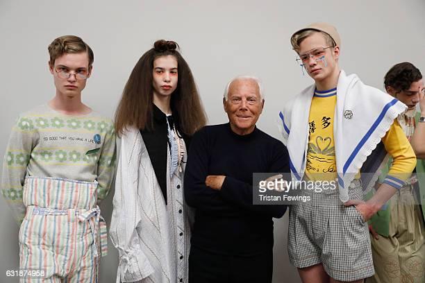 Designer Giorgio Armani and models seen backstage ahead of the Yoshio Kubo / Moto Guo / Consistence show during Milan Men's Fashion Week Fall/Winter...