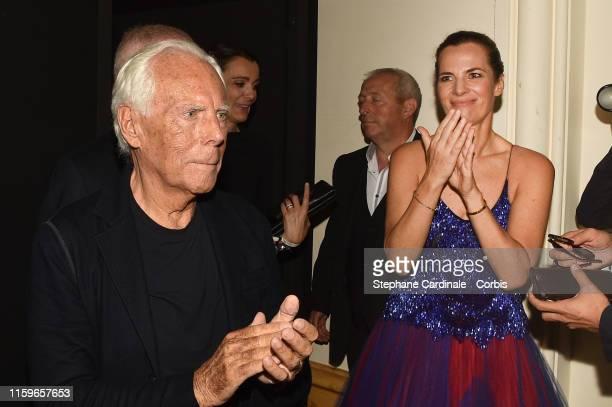 Designer Giorgio Armani and Roberta Armani backstage after the Giorgio Armani Prive Haute Couture Fall/Winter 2019 2020 show as part of Paris Fashion...