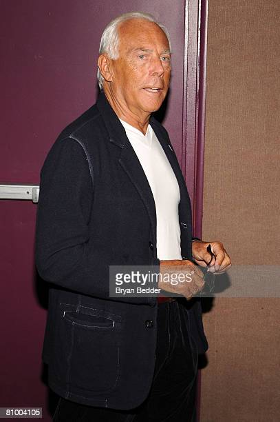 Designer Giorgio Armani appears backstage at the Fashion Institute of Technology on May 6 2008 in New York City