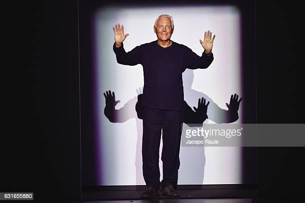Designer Giorgio Armani is seen on the runway at the Emporio Armani show during Milan Men's Fashion Week Fall/Winter 2017/18 on January 14, 2017 in...