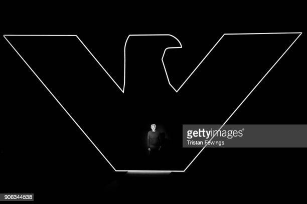 Designer Giorgio Armani is seen on the runway at the Emporio Armani show during Milan Men's Fashion Week Fall/Winter 2018/19 on January 13 2018 in...