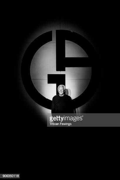 Designer Giorgio Armani is seen on the runway at the Giorgio Armani show during Milan Men's Fashion Week Fall/Winter 2018/19 on January 15 2018 in...