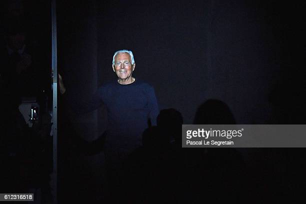 Designer Giorgio Armani is seen on the runway during the Emporio Armani show as part of the Paris Fashion Week Womenswear Spring/Summer 2017 on...