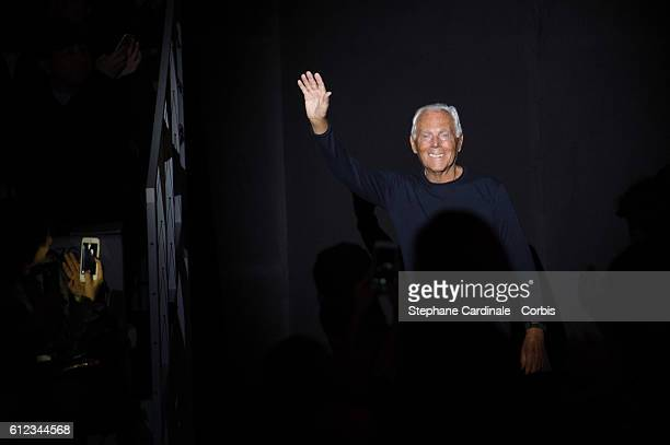 Designer Giorgio Armani is seen on the runway during the Emporio Armani show as part of the Paris Fashion Week Womenswear Spring/Summer 2017on...