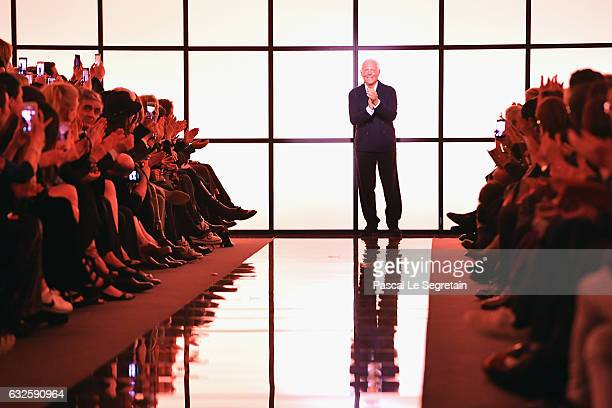 Designer Giorgio Armani is seen on the runway during the Giorgio Armani Prive Spring Summer 2017 show as part of Paris Fashion Week on January 24,...