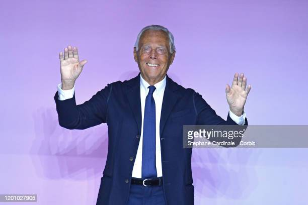 Designer Giorgio Armani poses during the Giorgio Armani Prive Haute Couture Spring/Summer 2020 show as part of Paris Fashion Week on January 21, 2020...