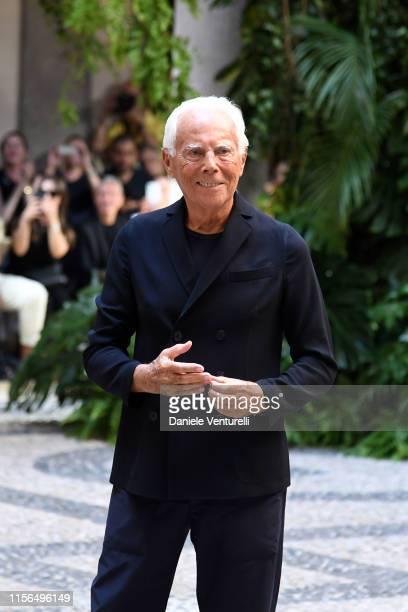 Designer Giorgio Armani poses on the runway at the Giorgio Armani fashion show during the Milan Men's Fashion Week Spring/Summer 2020 on June 17,...