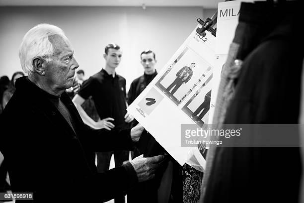 Designer Giorgio Armani seen backstage ahead of the Yoshio Kub / Moto Guo / Consistence show during Milan Men's Fashion Week Fall/Winter 2017/18 on...