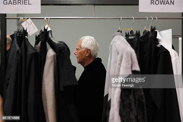 Designer Giorgio Armani seen backstage ahead of the Yoshio Kubo / Moto Guo / Consistence show during Milan Men's Fashion Week Fall/Winter 2017/18 on...