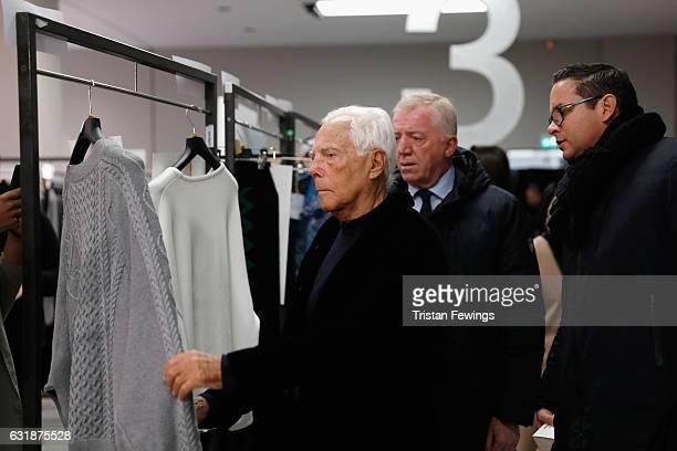 Designer Giorgio Armani seen backstage ahead of the Yoshio Kubo / Moto Guo / Consistence show during Milan Men's Fashion Week Fall/Winter 2017/18 on...