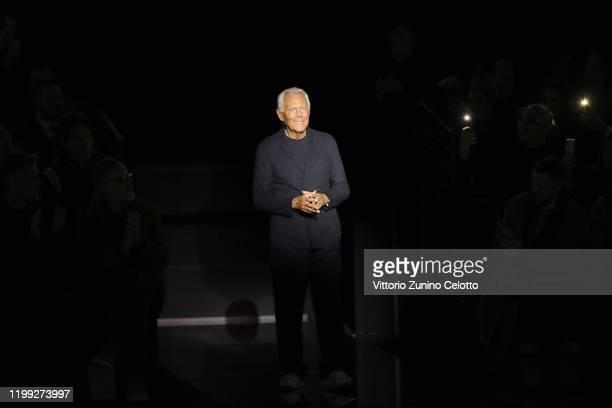 Designer Giorgio Armani walks the runway after the Giorgio Armani fashion show on January 13 2020 in Milan Italy