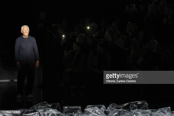 Designer Giorgio Armani walks the runway after the Giorgio Armani fashion show on January 13, 2020 in Milan, Italy.