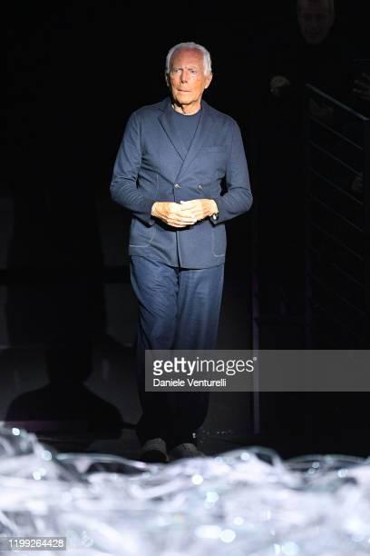 Designer Giorgio Armani walks the runway at the Giorgio Armani fashion show on January 13, 2020 in Milan, Italy.