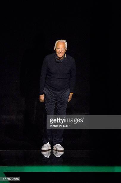 Designer Giorgio Armani walks the runway during the Emporio Armani Ready to Wear fashion show as part of Milan Men's Fashion Week Spring/Summer 2016...