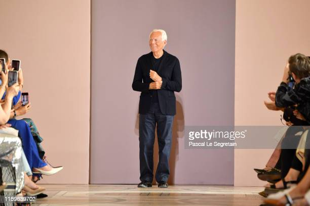Designer Giorgio Armani walks the runway during the Giorgio Armani Prive Haute Couture Fall/Winter 2019 2020 show as part of Paris Fashion Week on...