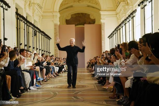 Designer Giorgio Armani walks the runway during the Giorgio Armani Prive Haute Couture Fall/Winter 2019 2020 show as part of Paris Fashion Week on...