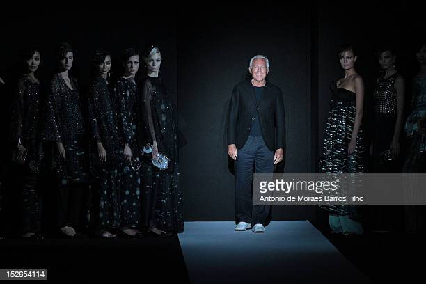 Designer Giorgio Armani walks the runway during the Giorgio Armani show as a part of Milan Fashion Week Womenswear S/S 2013 on September 23, 2012 in...