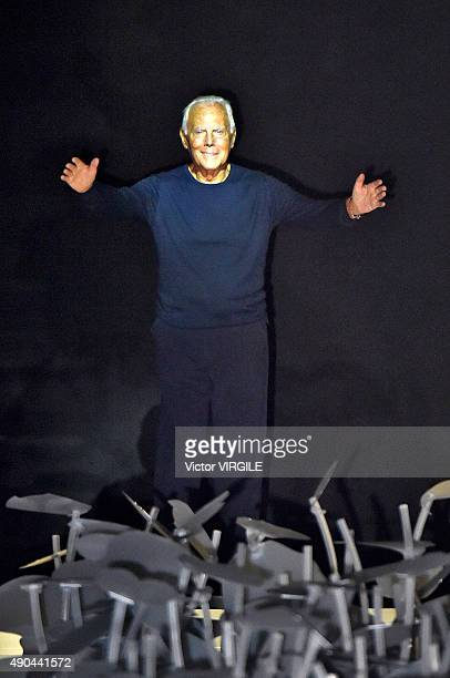 Designer Giorgio Armani walks the runway during the Giorgio Armani Ready to Wear fashion show as part of Milan Fashion Week Spring/Summer 2016 on...